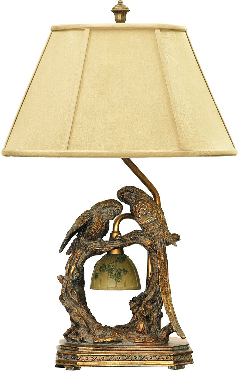 "25""h Twin Parrots 1-Light Table Lamp Atlanta Bronze"
