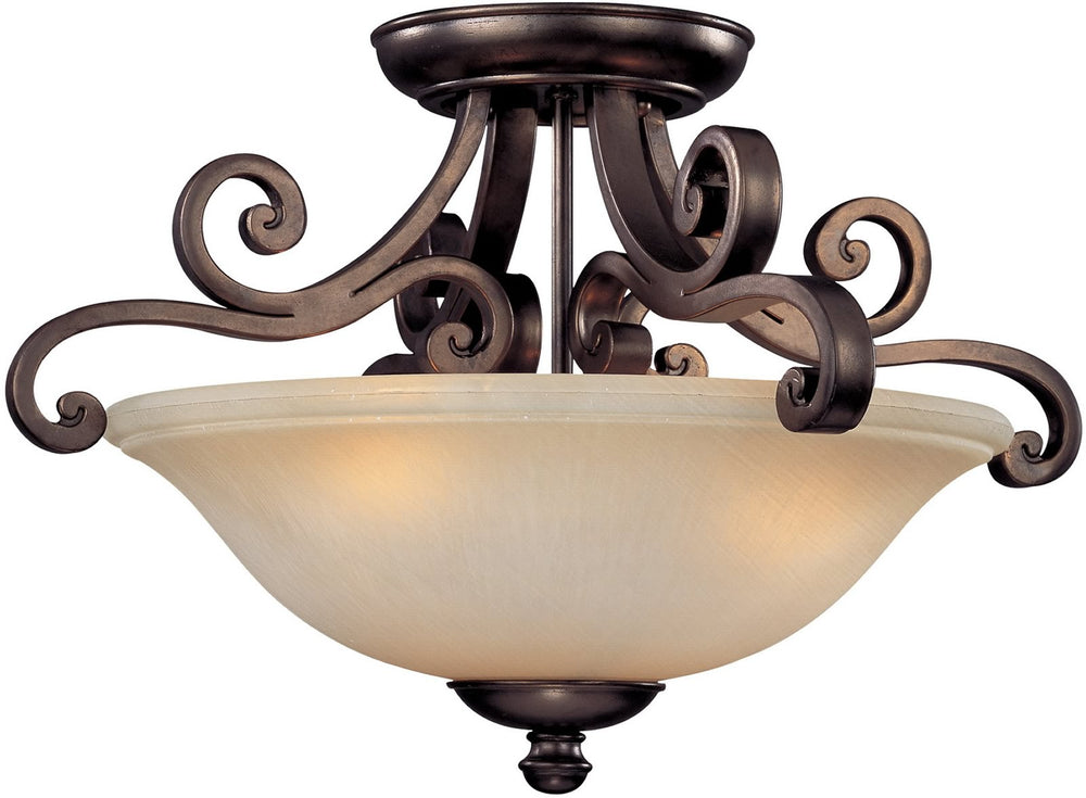 "19""w Brittany 3-Light Semi-Flush Mount Deep Bronze"
