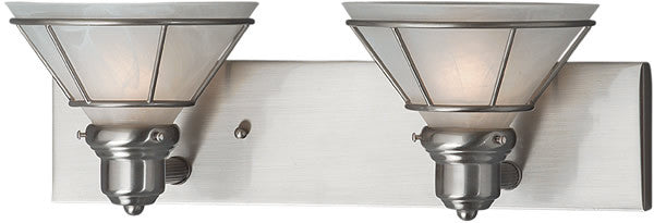 "18""w Craftsman 2-Light Vanity Strip Satin Nickel"