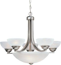 "26""w Fireside 8-Light Chandelier With Bowl Satin Nickel"