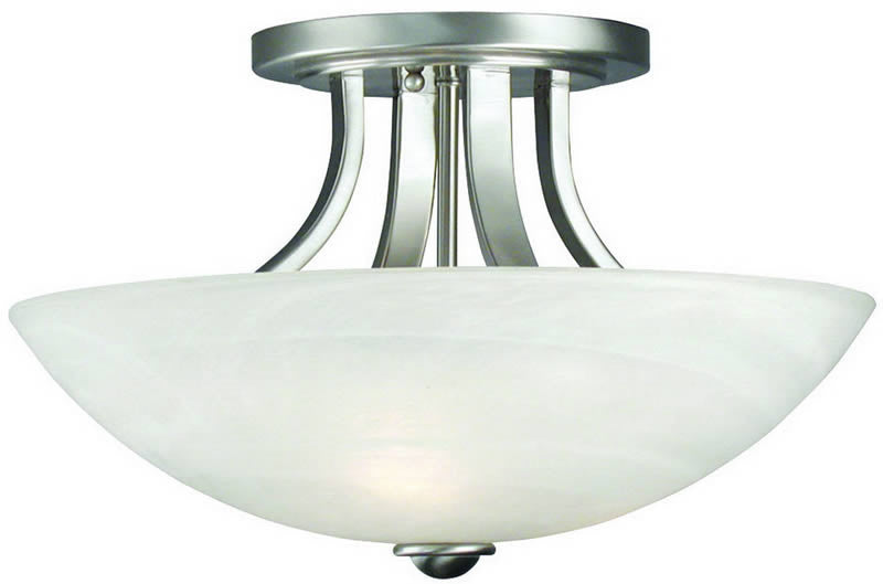 "15""w Fireside 3-Light Semi-Flush Mount Satin Nickel"
