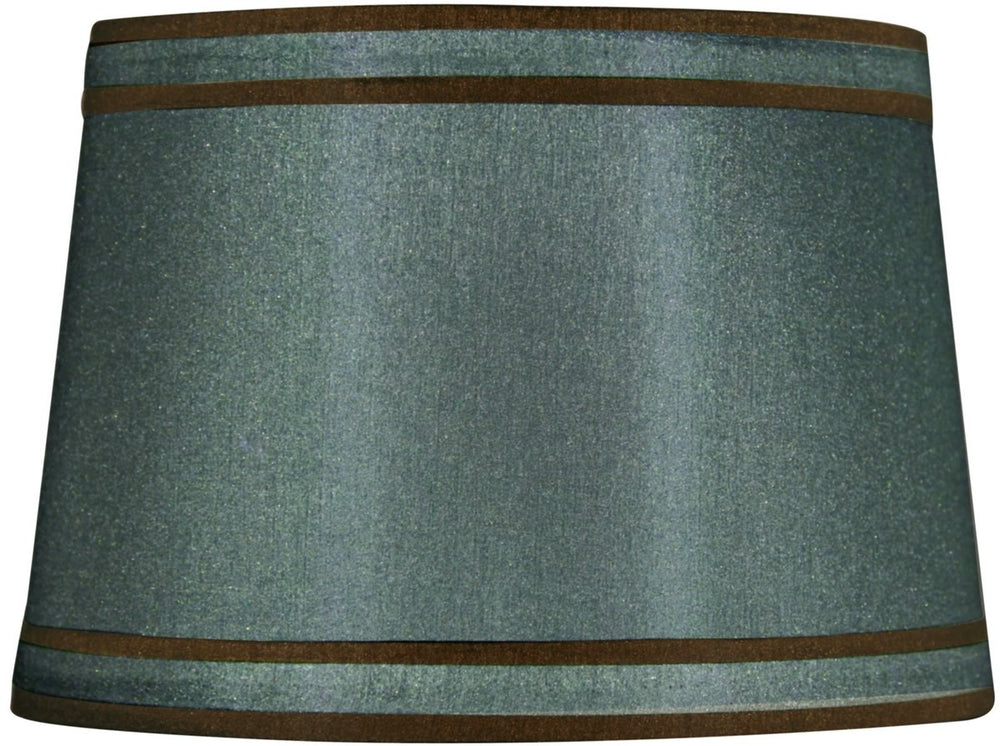 13x15x10 Petite Green with Brown Piping Modified Barrel Lamp Shade