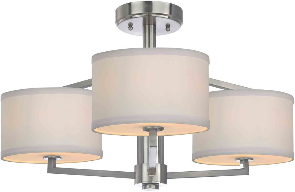 "24""w Monaco 3-Light Semi-Flush Satin Nickel"