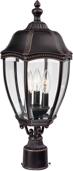 "22""h Roseville 3-Light Outdoor Post Lantern Antique Bronze"