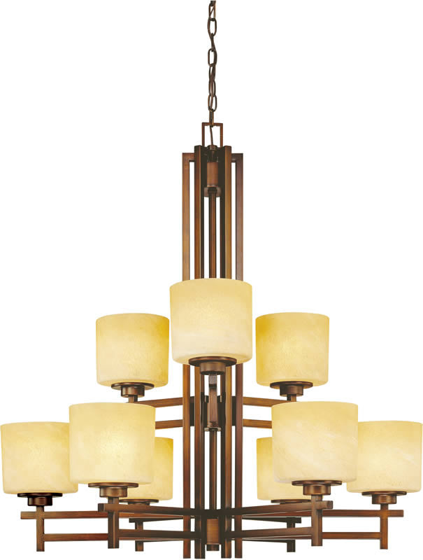 "34""w Roxbury 9-Light 2 Tier Chandelier English Bronze"