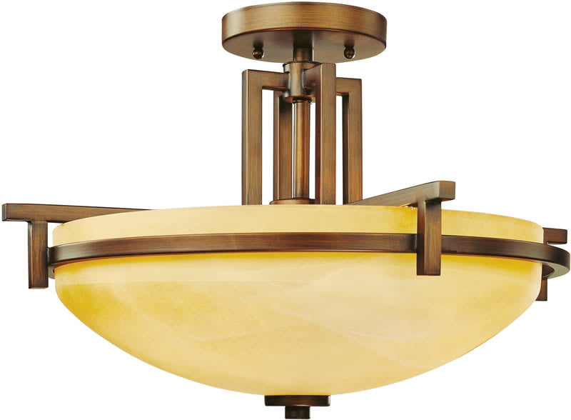 "19""w Roxbury 3-Light Semi Flushmount English Bronze"