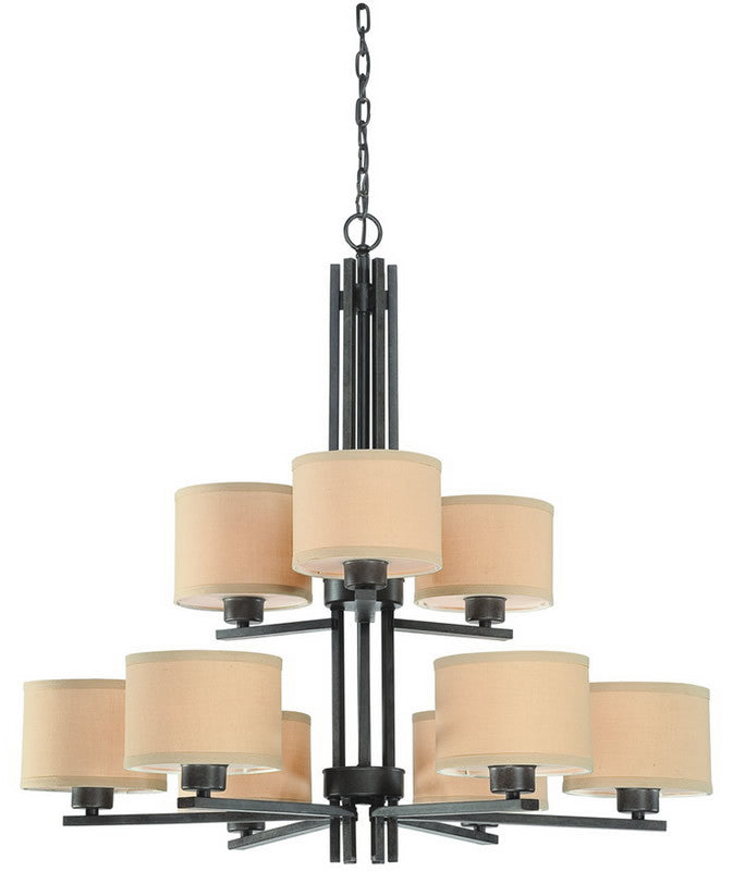 "34""w Tecido 9-Light Chandelier Olde World Iron"