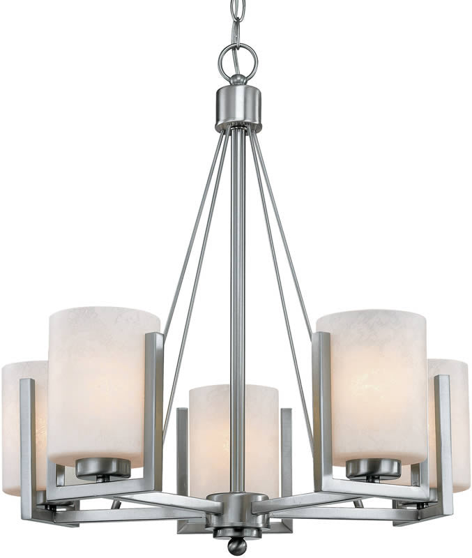 "25""W Uptown 5-Light Chandelier Satin Nickel"
