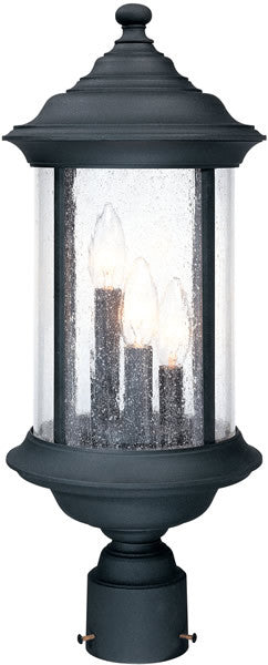 "21""h Walnut Grove 3-Light Outdoor Post Lantern Black"