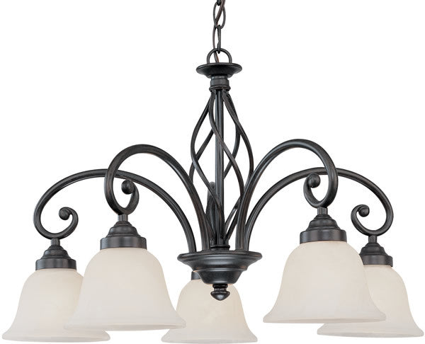 "25""w Wicker Park 5-Light Chandelier Olde World Iron"