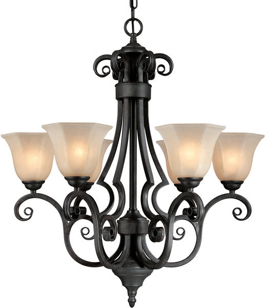 "26""w Winston 6-Light Chandelier Olde World Iron"