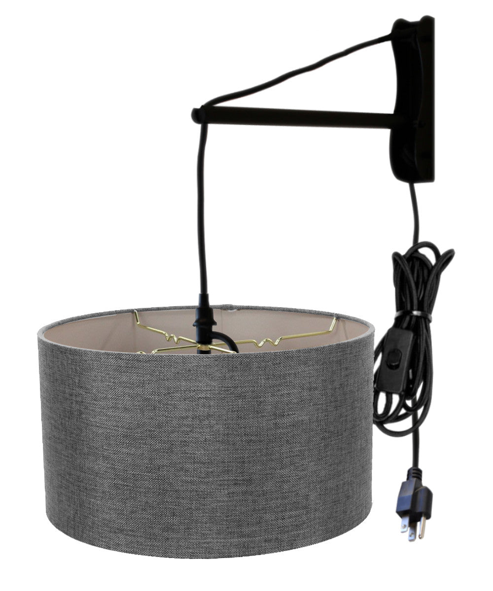 "18""W MAST Plug-In Wall Mount Pendant 1 Light Black Cord/Arm Granite Gray Shade"