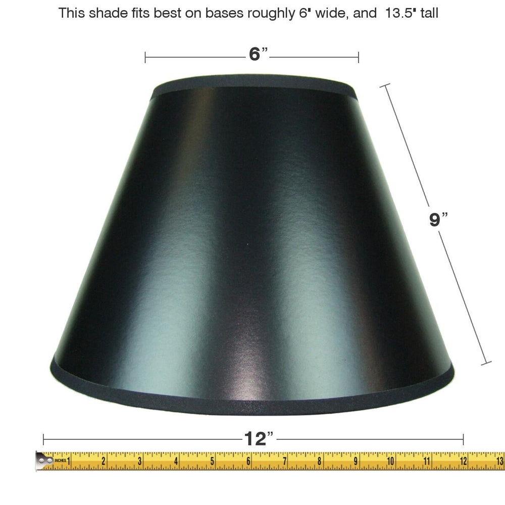"12""W  x 9""H Black Empire Hardback Lampshade with Gold Liner"
