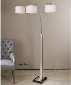 "74""H Bradenton Nickel 3 Light Floor Lamp"