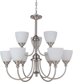 0-019268>Brighton 9-Light Chandelier Brushed Polished Nickel