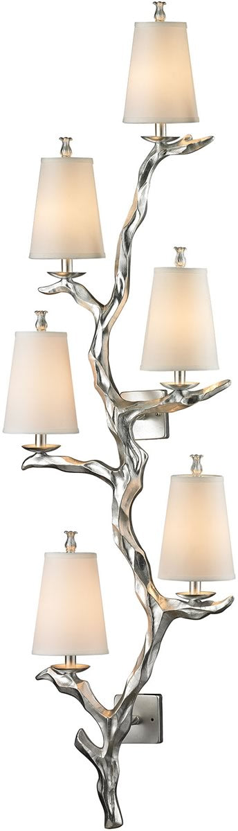"19""W Sprig 6-Light Wall Sconce Silver Leaf"