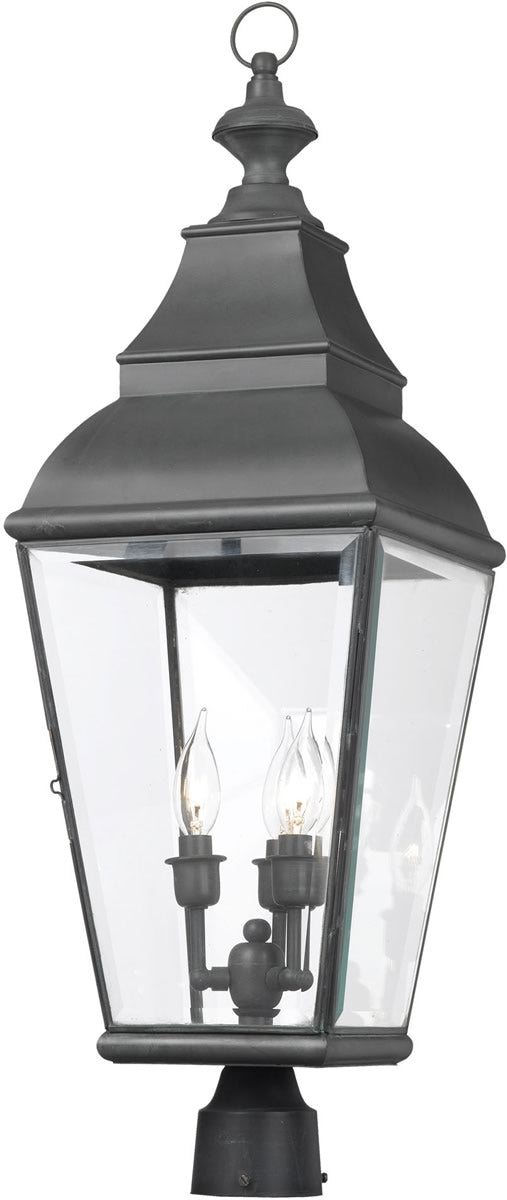 "29""H Bristol 3-Light Outdoor Post Lantern Charcoal/Beveled Glass"
