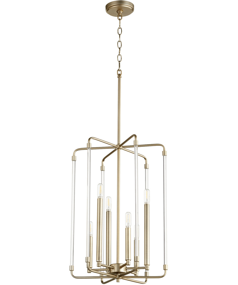 "16""W Optic 6-light Entry Foyer Hall Chandelier Aged Brass"