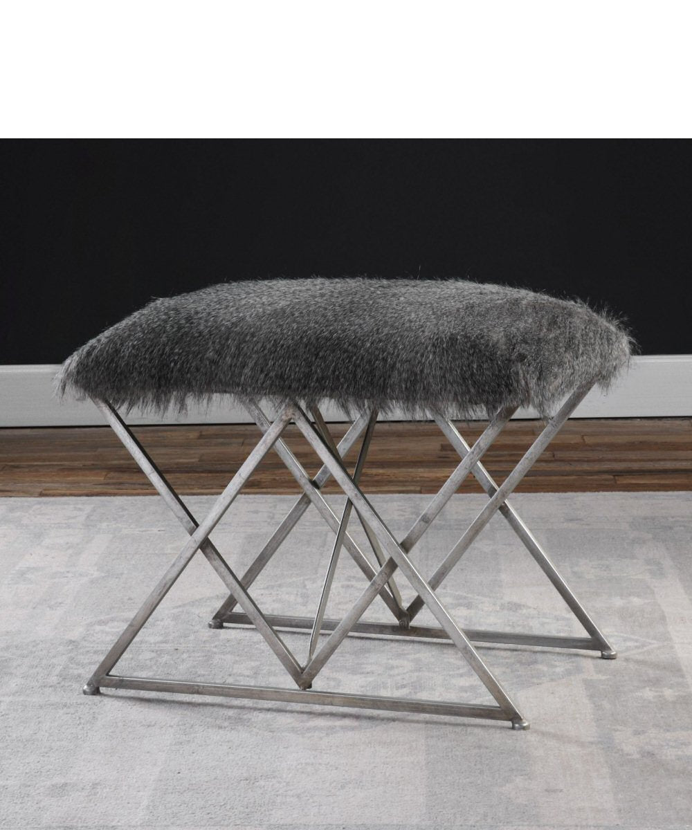 "20""H Astairess Fur Small Bench"