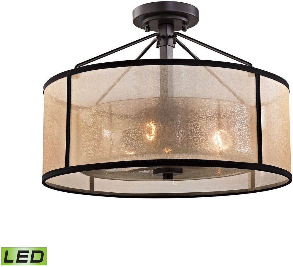 "18""W Diffusion 3-Light LED Semi Flush Oil Rubbed Bronze"