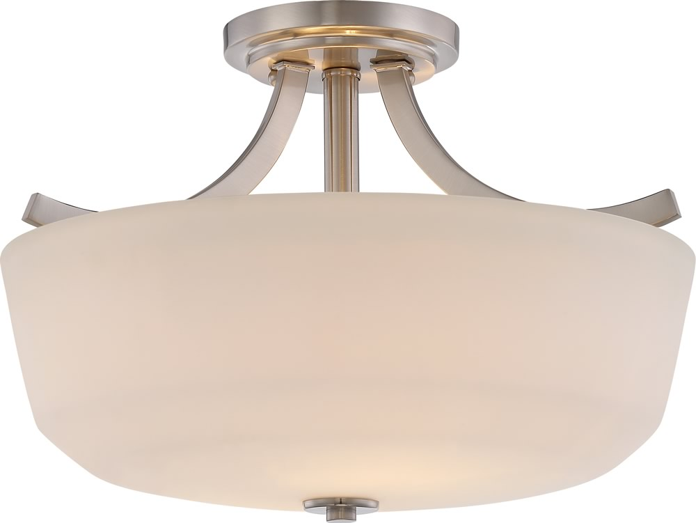 "15""W Laguna 2-Light Close-to-Ceiling Brushed Nickel"