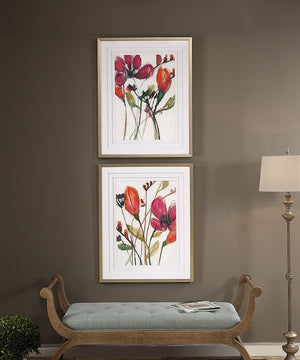"39""H x 31""W Vivid Arrangement Floral Prints Set of 2"