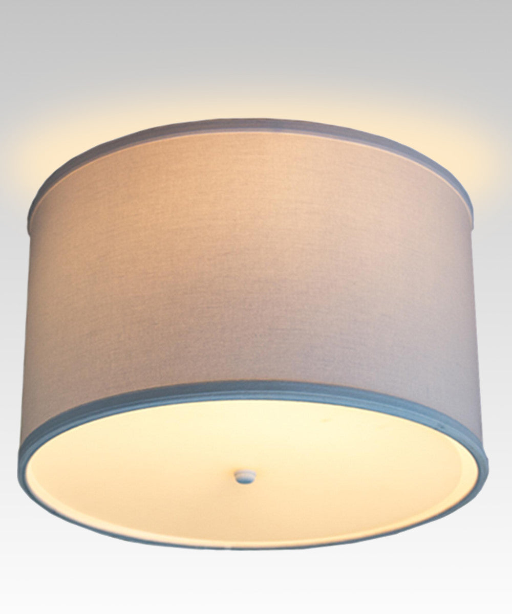 "14""W Moderne Flush Mount Conversion Kit  White Fabric Drum Lampshade"