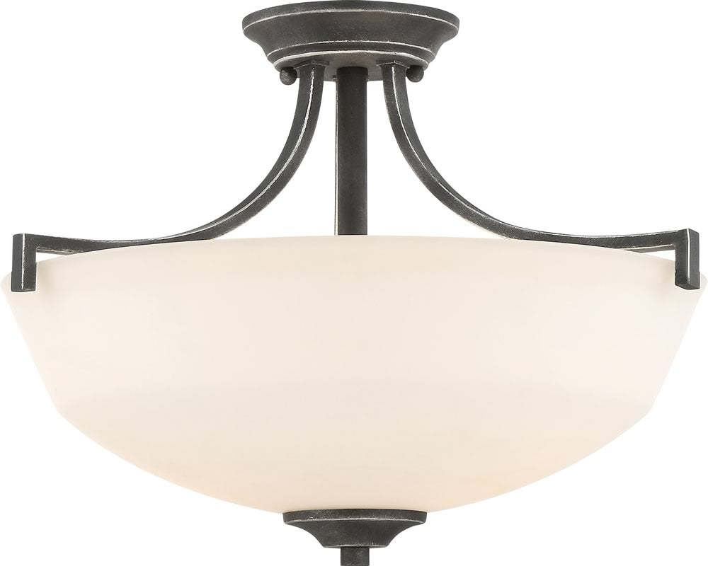 "16""W Chester 2-Light Close-to-Ceiling Iron Black"