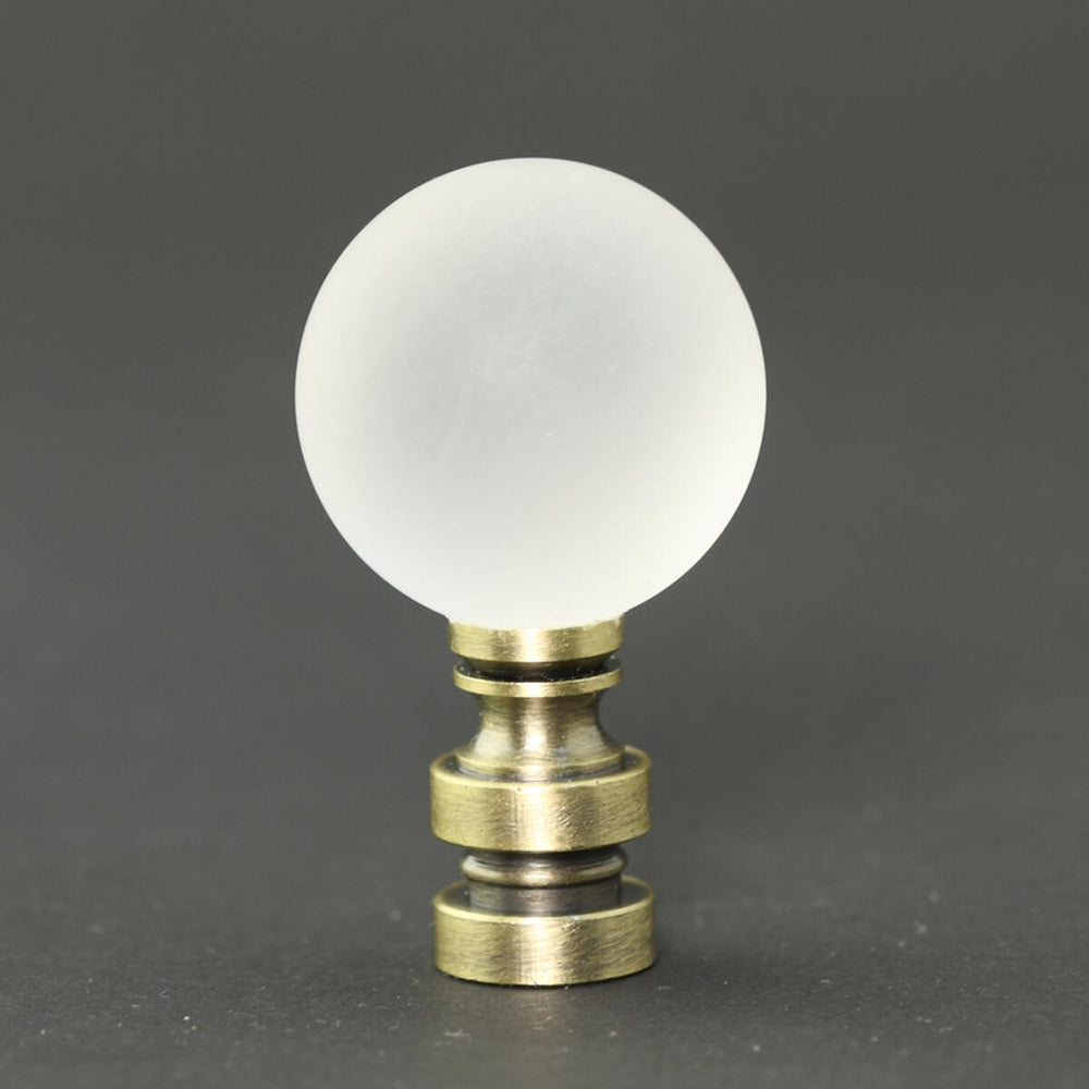 "2.5""H Frosted Ice Ball Antique Brass Finial"
