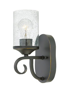 Casa 1-Light Sconce in Olde Black with Clear Seedy