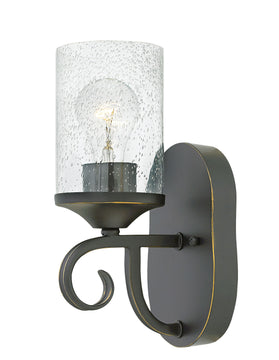 "5""W Casa 1-Light Sconce in Olde Black with Clear Seedy"