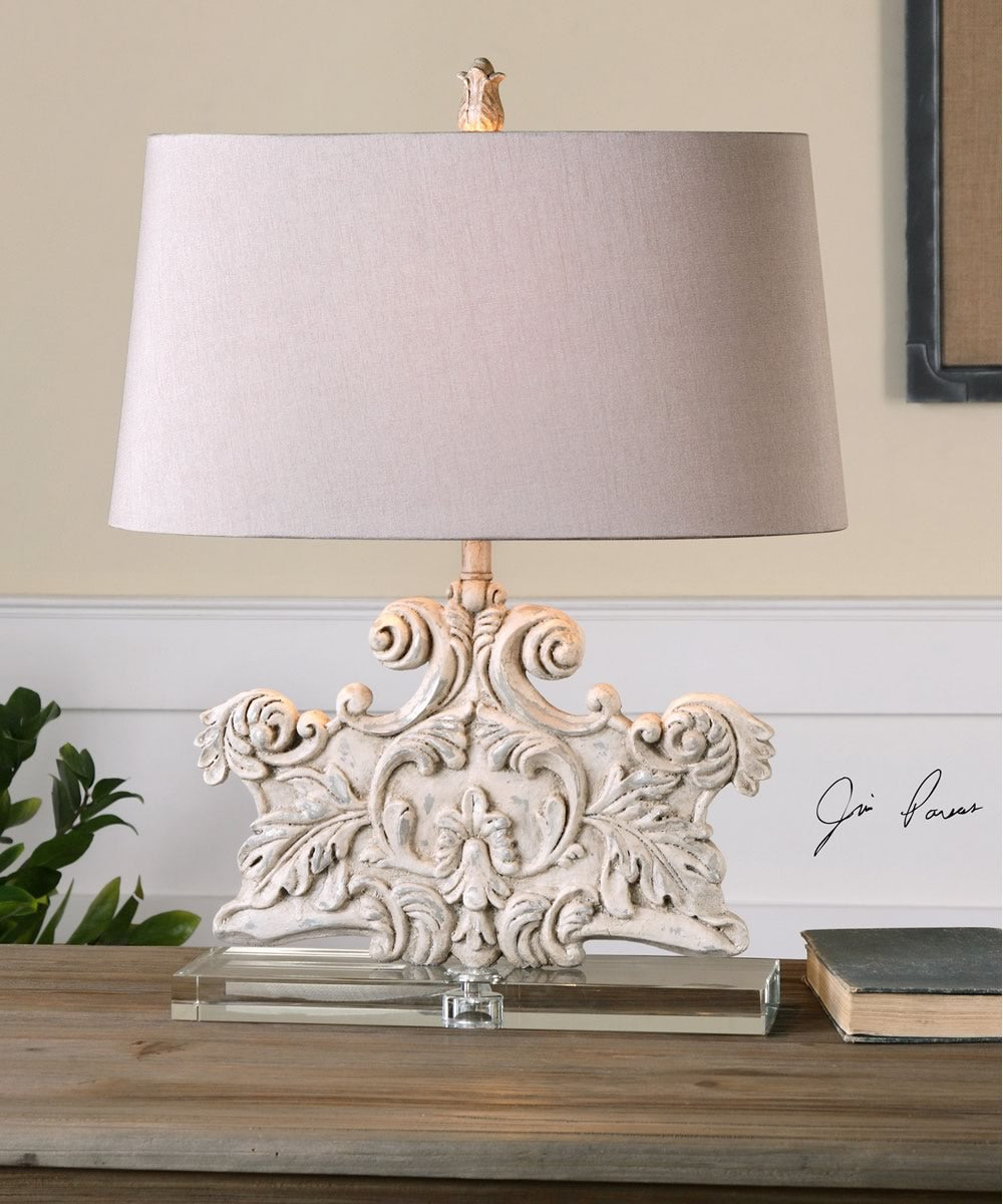 "25""H Schiavoni Ivory Stone Table Lamp"