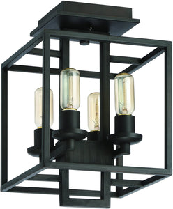 0-001921>Cubic 4-Light Semi Flush Aged Bronze Brushed