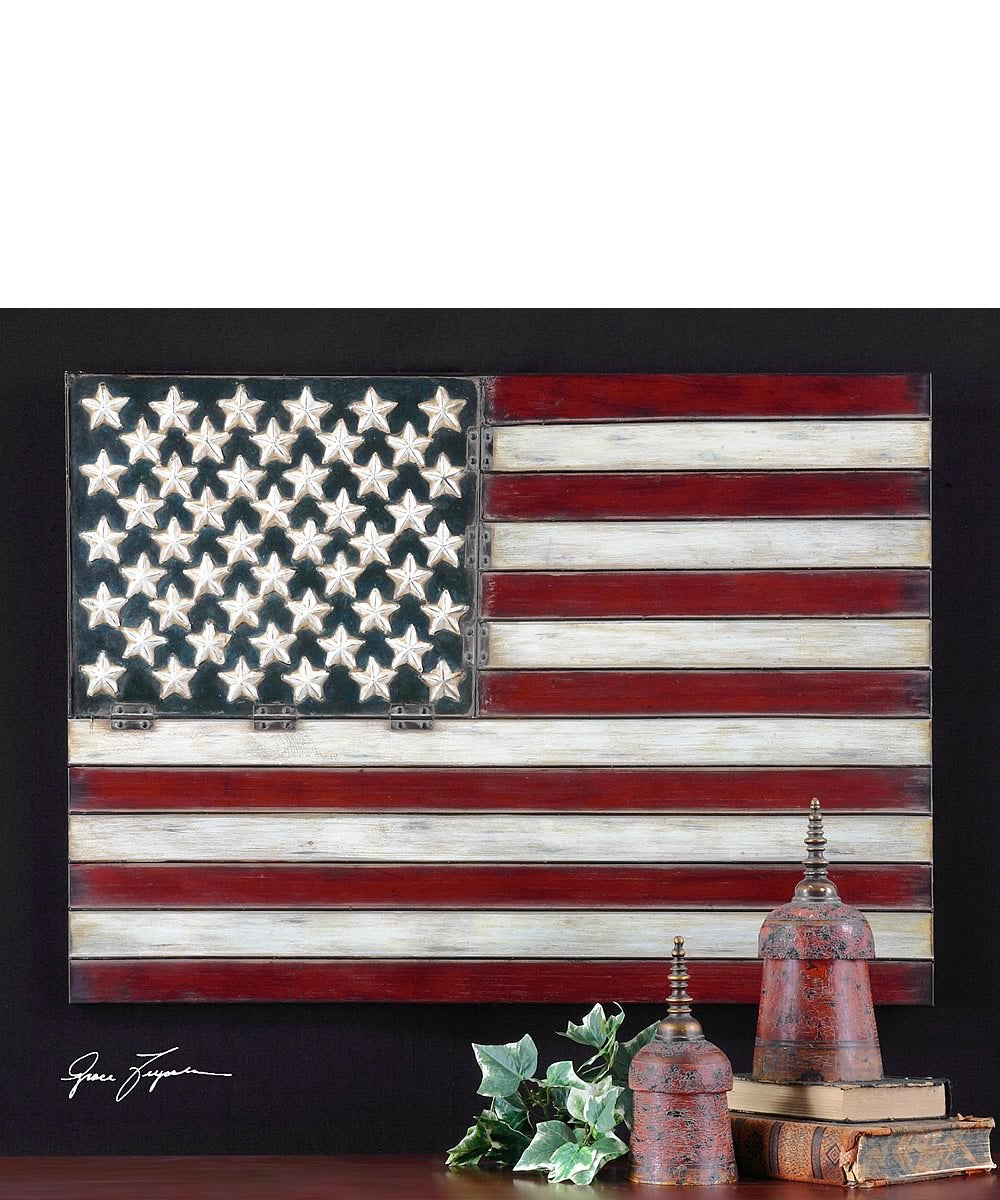 "26""H x 36""W American Flag Metal Wall Art"