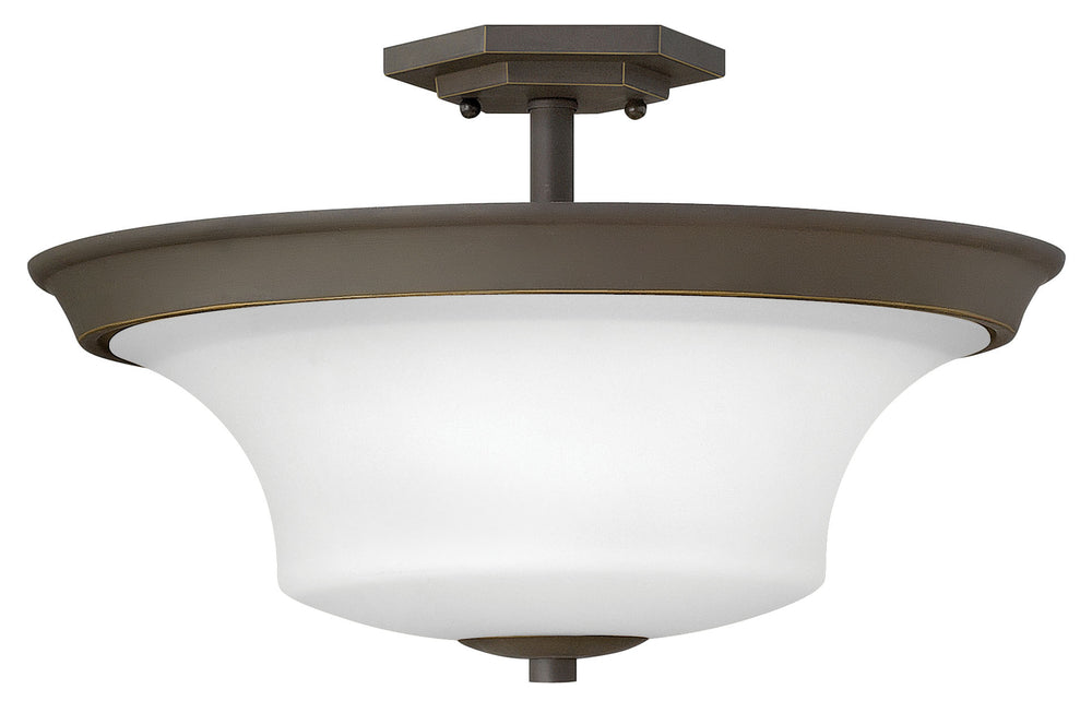 Brantley 3-Light Semi-flush Mount in Oil Rubbed Bronze with White