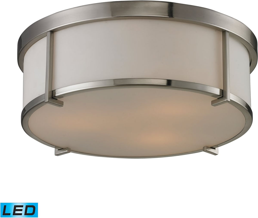 "15""W Flushmounts 3-Light LED Flushmount Brushed Nickel/Opal White Glass"