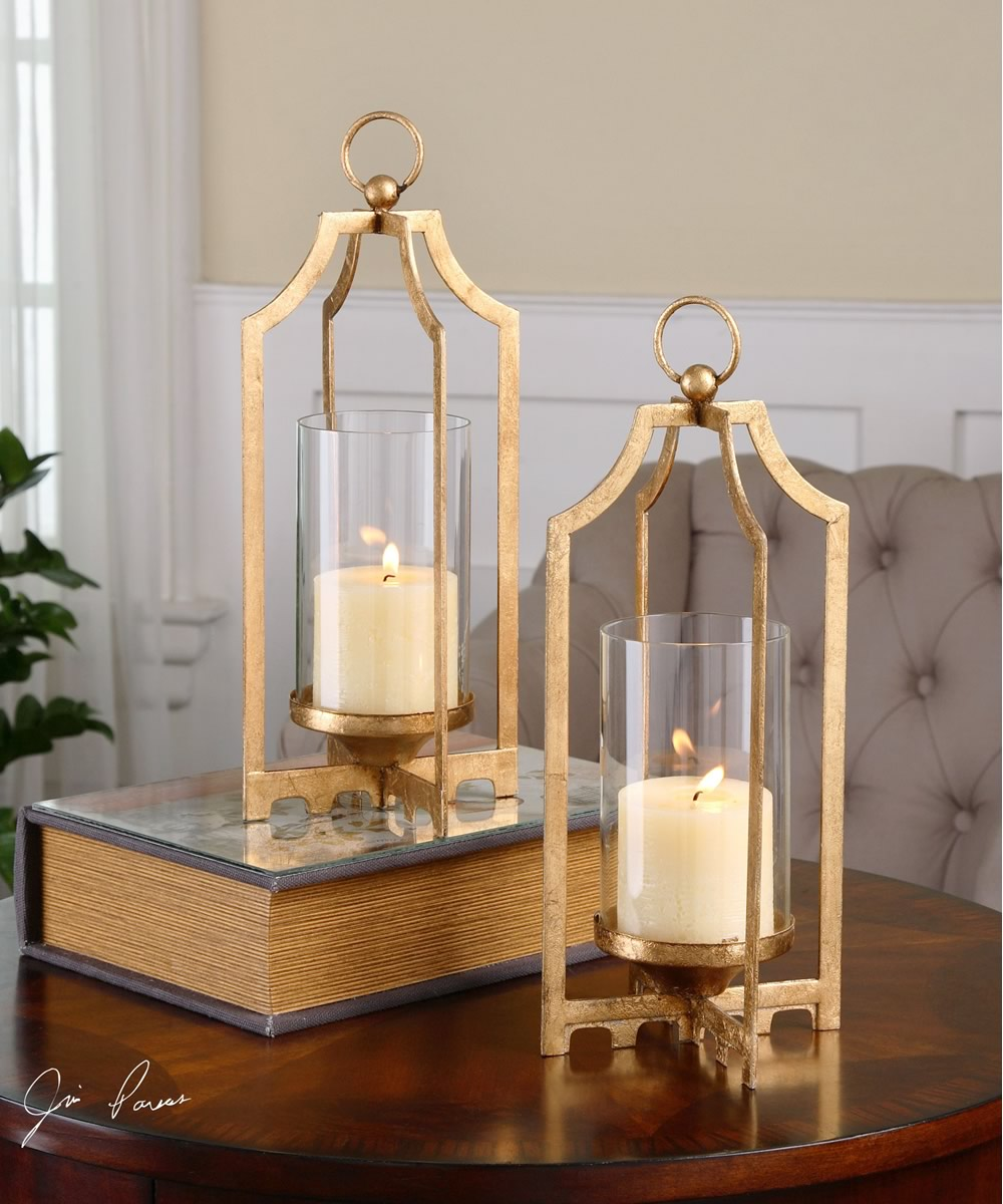 "13""H Lucy Gold Candleholders Set of 2"