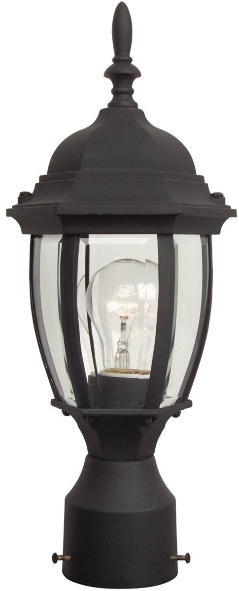 "17""H Bent Glass 1-Light Outdoor Post Light Matte Black"