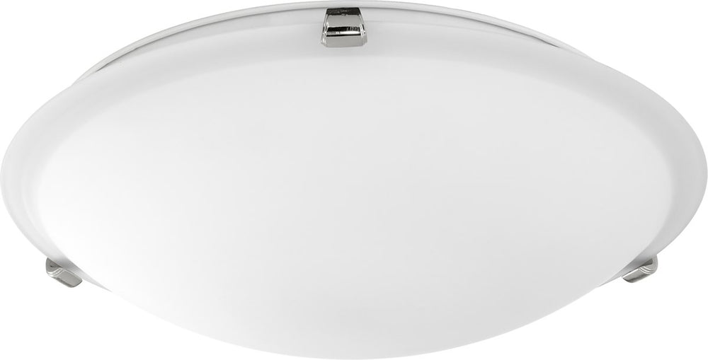 "16""W 3-light Ceiling Flush Mount Polished Nickel w/ Satin Opal"