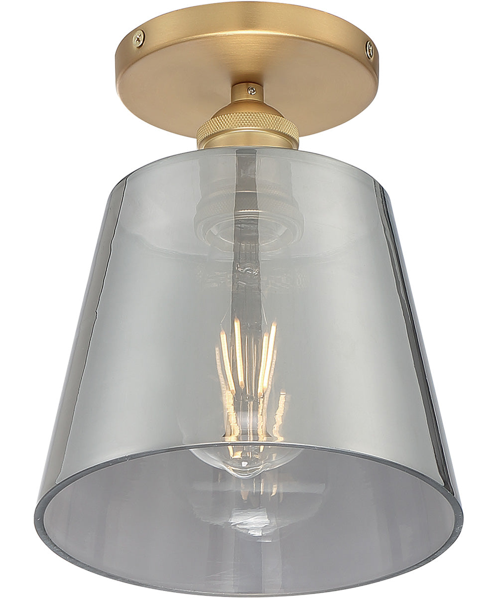 "7""W Motif 1-Light Close-to-Ceiling Brushed Brass / Smoked Glass"