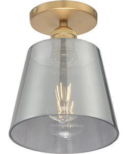 Motif 1-Light Close-to-Ceiling Brushed Brass / Smoked Glass