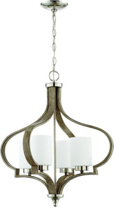 0-003165>Jasmine 4-Light Chandelier Polished Nickel/Weathered Fir