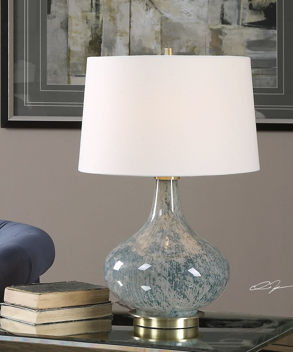 "25""H Celinda Blue Gray Glass Lamp"