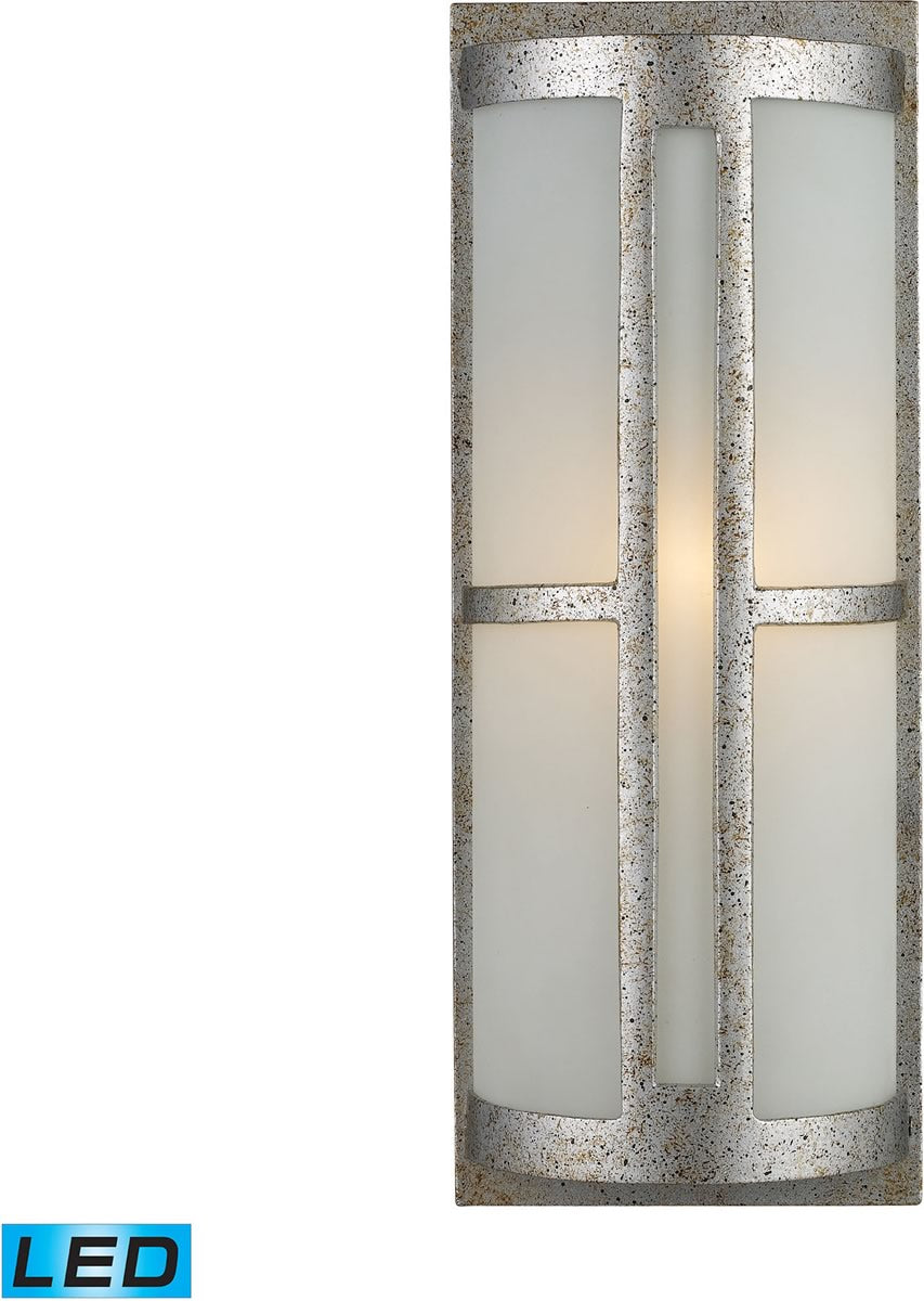 "17""H Trevot 1-Light Outdoor LED Wall Sconce Sunset Silver/Frosted Glass"