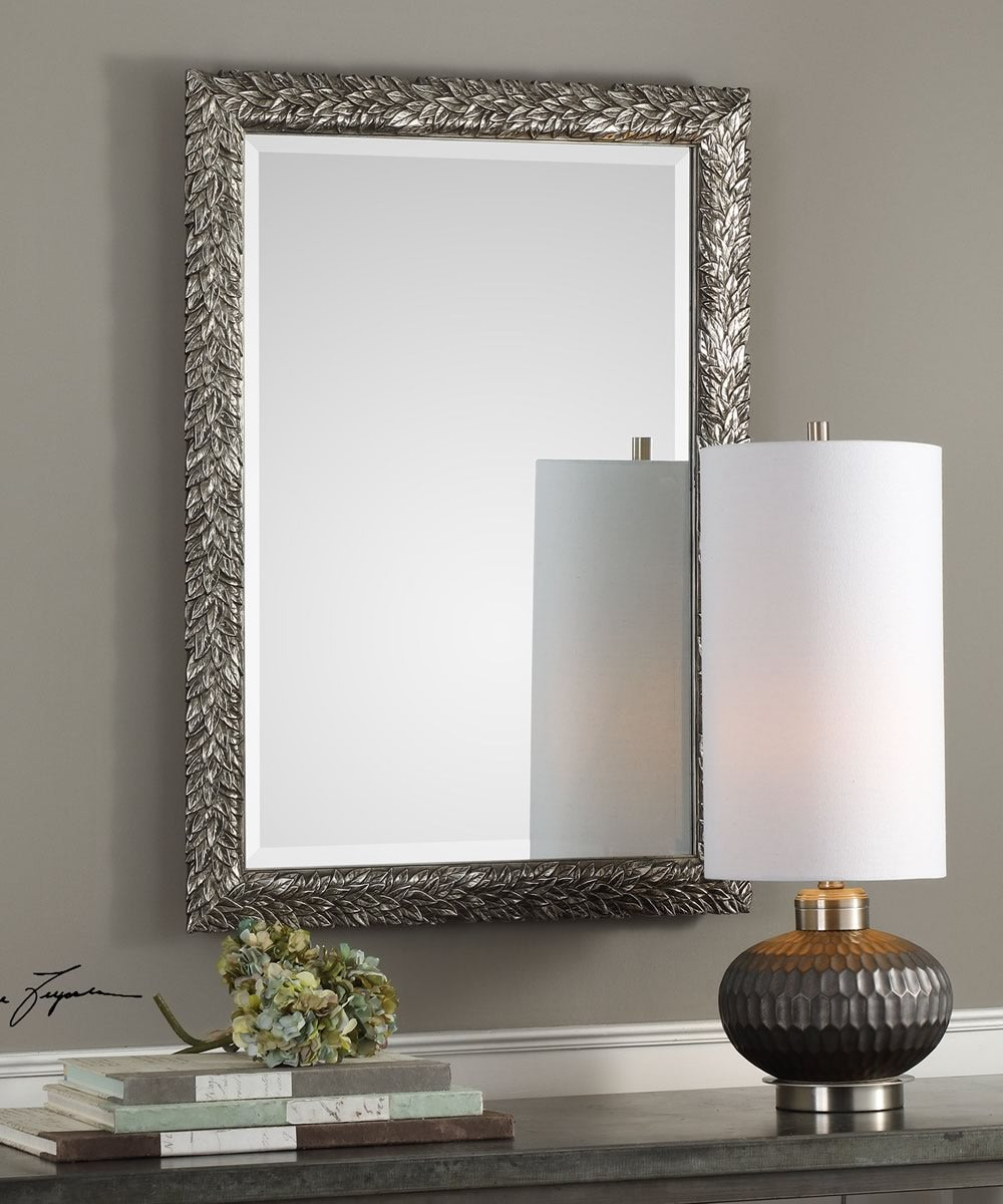"35""H x 25""W Evelina Silver Leaves Mirror"