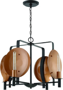 Candela 4-Light Chandelier Matte Black/Satin Copper