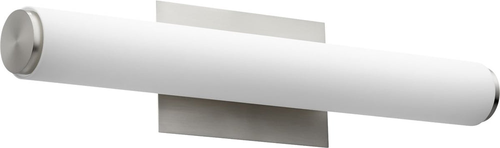 "24""W 2-light LED Bath Vanity Light Satin Nickel w/ Matte White Acrylic"