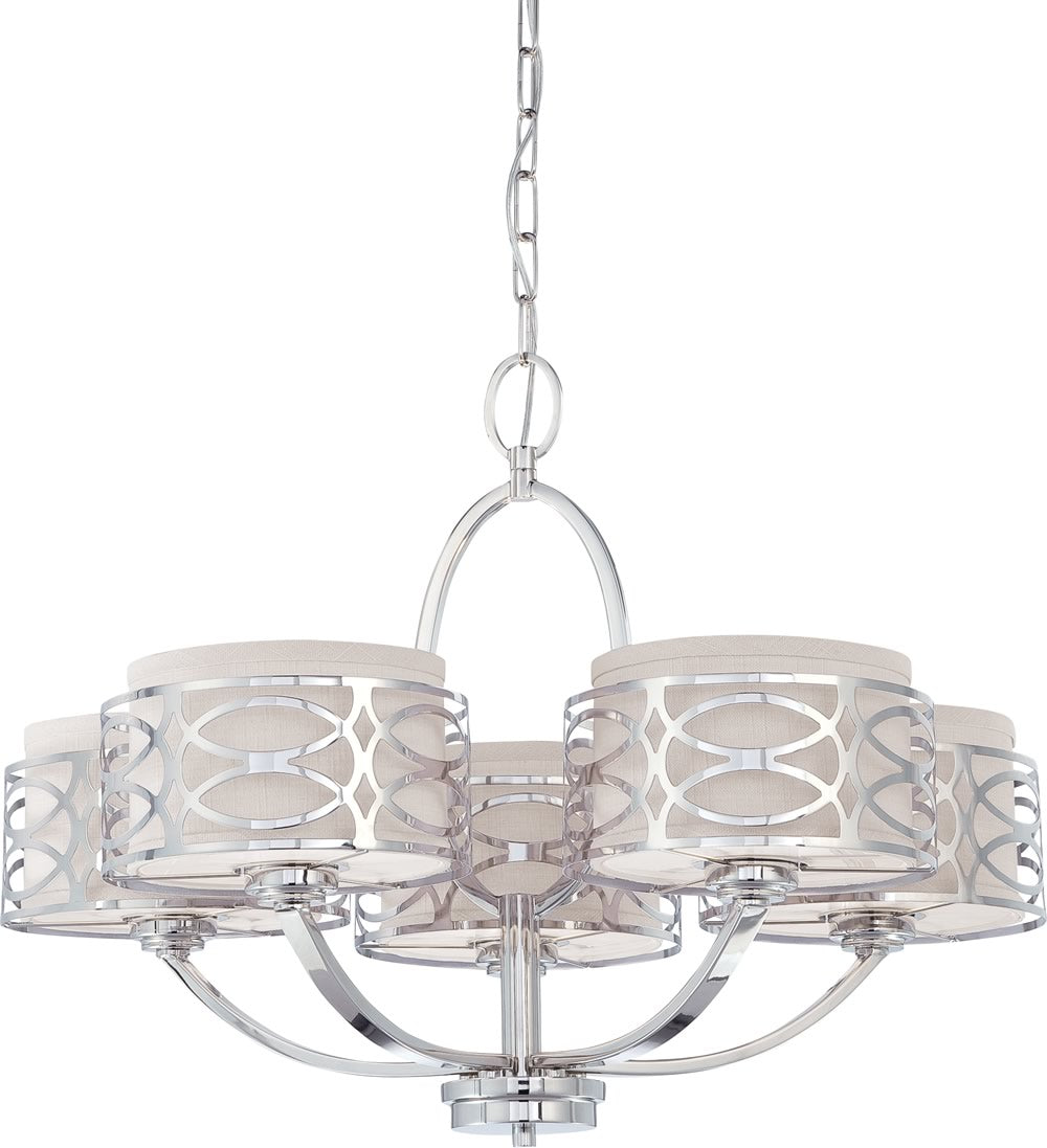 "28""W Harlow 5-Light Chandelier Polished Nickel"