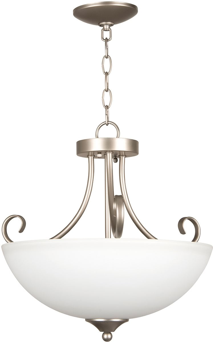 "19""W Raleigh 3-Light Semi Flush/Pendant Light Satin Nickel"