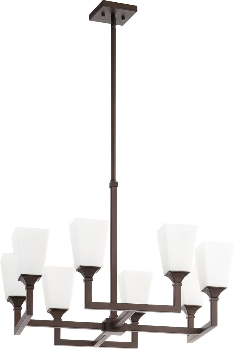 "26""W Wright 8-light Chandelier Oiled Bronze"